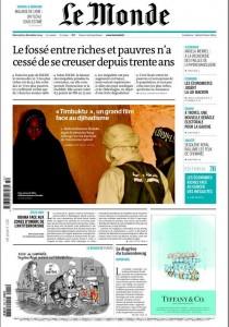 Timbuktu à la Une du Monde, à la veille de sa sortie nationale en France