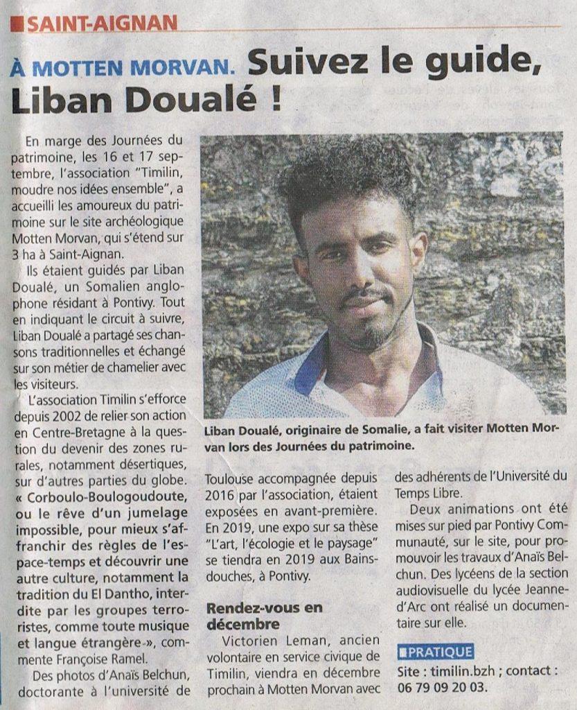 Pontivy Journal, article sur Liban Douale